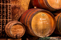 Oak Barrels in Wine Celler